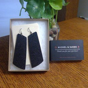 Nickel & Suede Gem Style Earrings - Flint - M